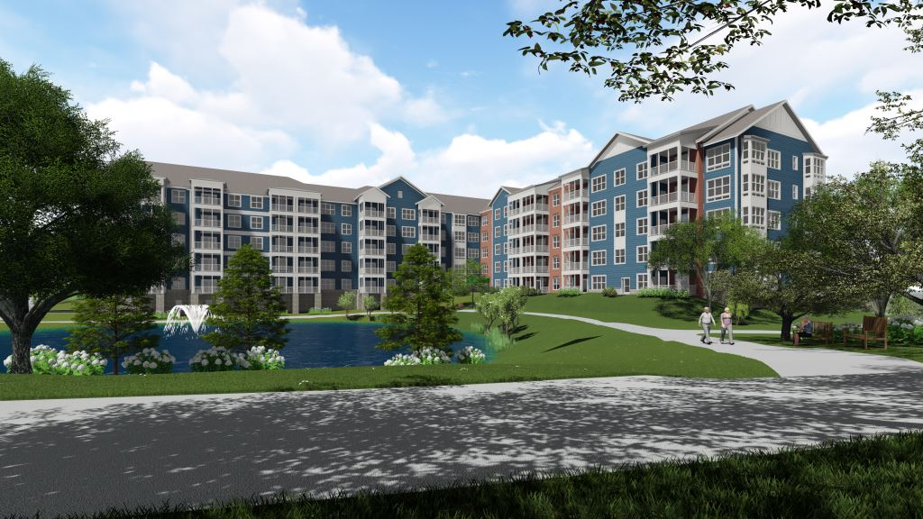 A rendering of Belmont Commons, the new independent living building at Ashby Ponds with lakeside views.