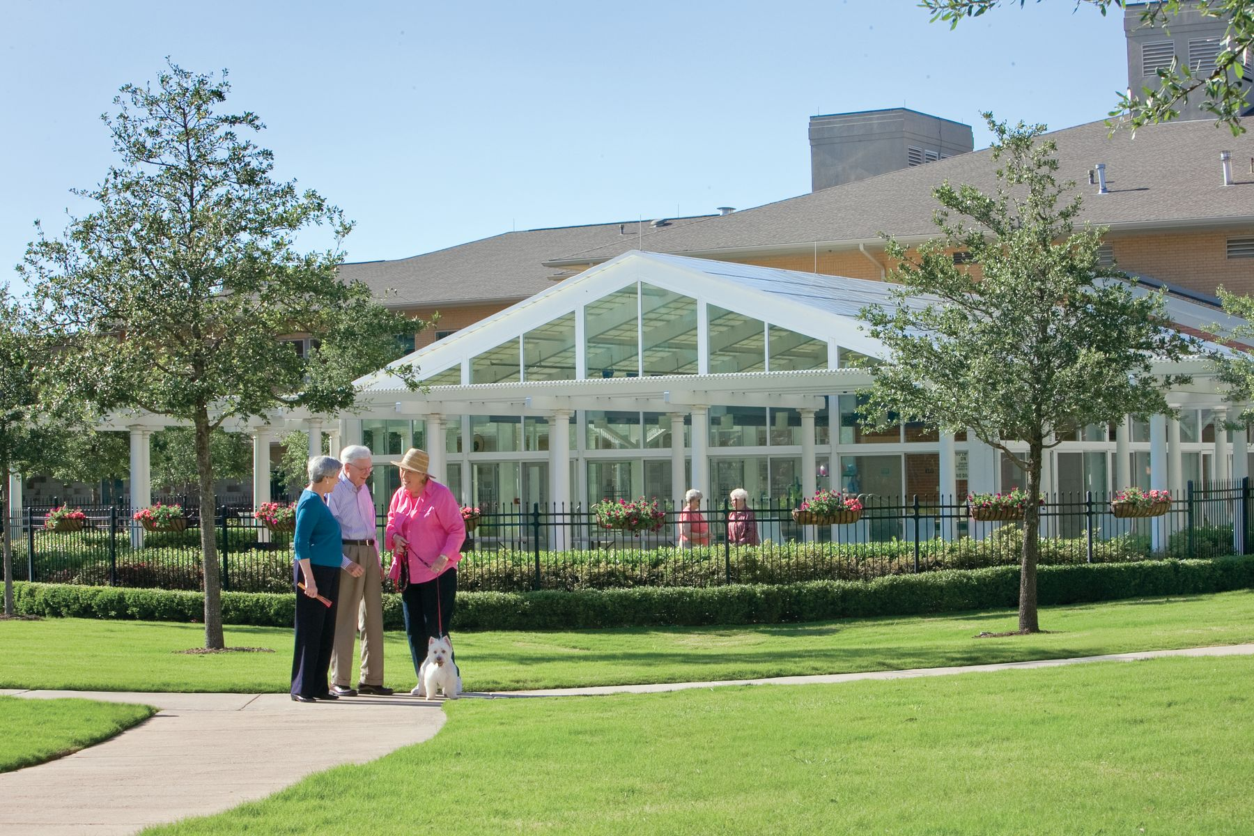 The exterior view of the Highland Springs aquatics center on a beautiful Texas day.