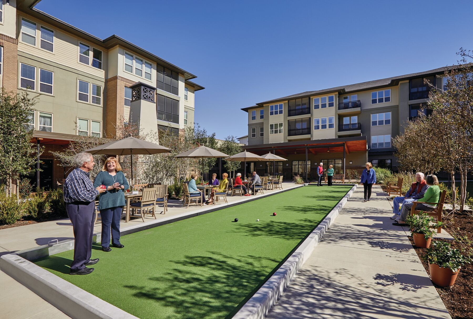 Residents of Highland Springs enjoy dozens of opportunities to socialize and connect...like bocce.
