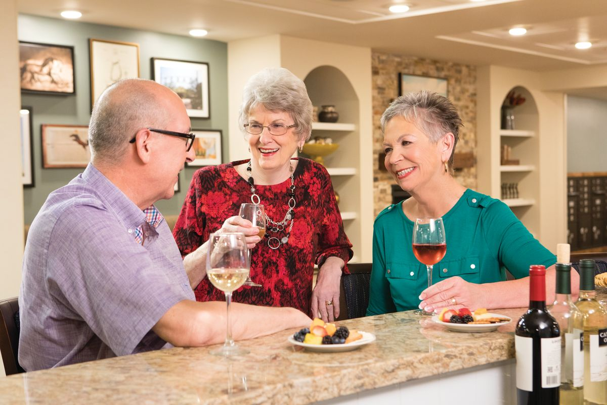 At Eagle's Trace, residents enjoy opportunities to be connected and socially engaged, like with the Soaring Eagle's Wine Club.