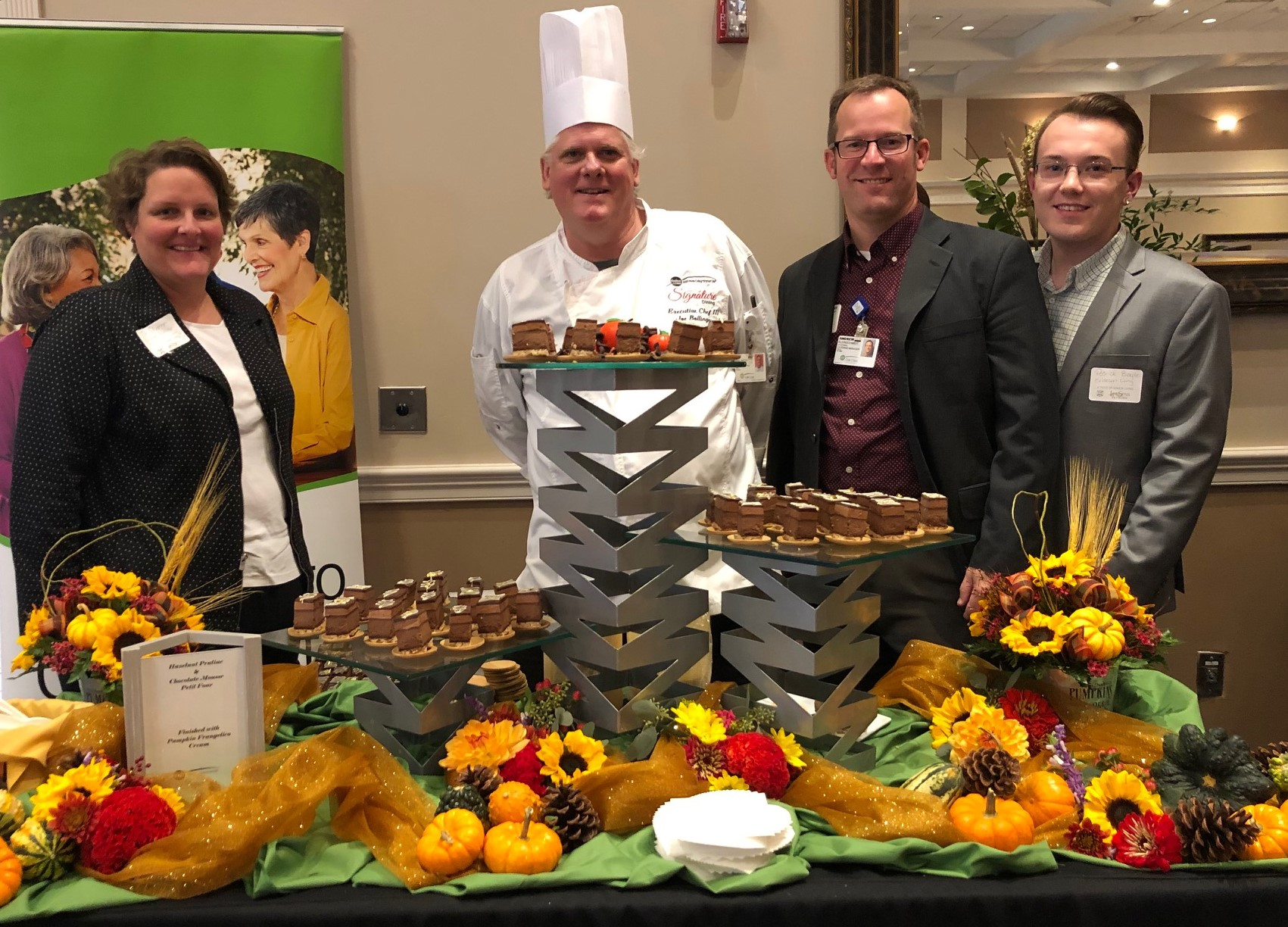 Culinary team professionals from Oak Crest are pictured in front of their award-winning Best Dessert entry at the LifeSpan 2019 A Taste of Senior Living competition on October 24.