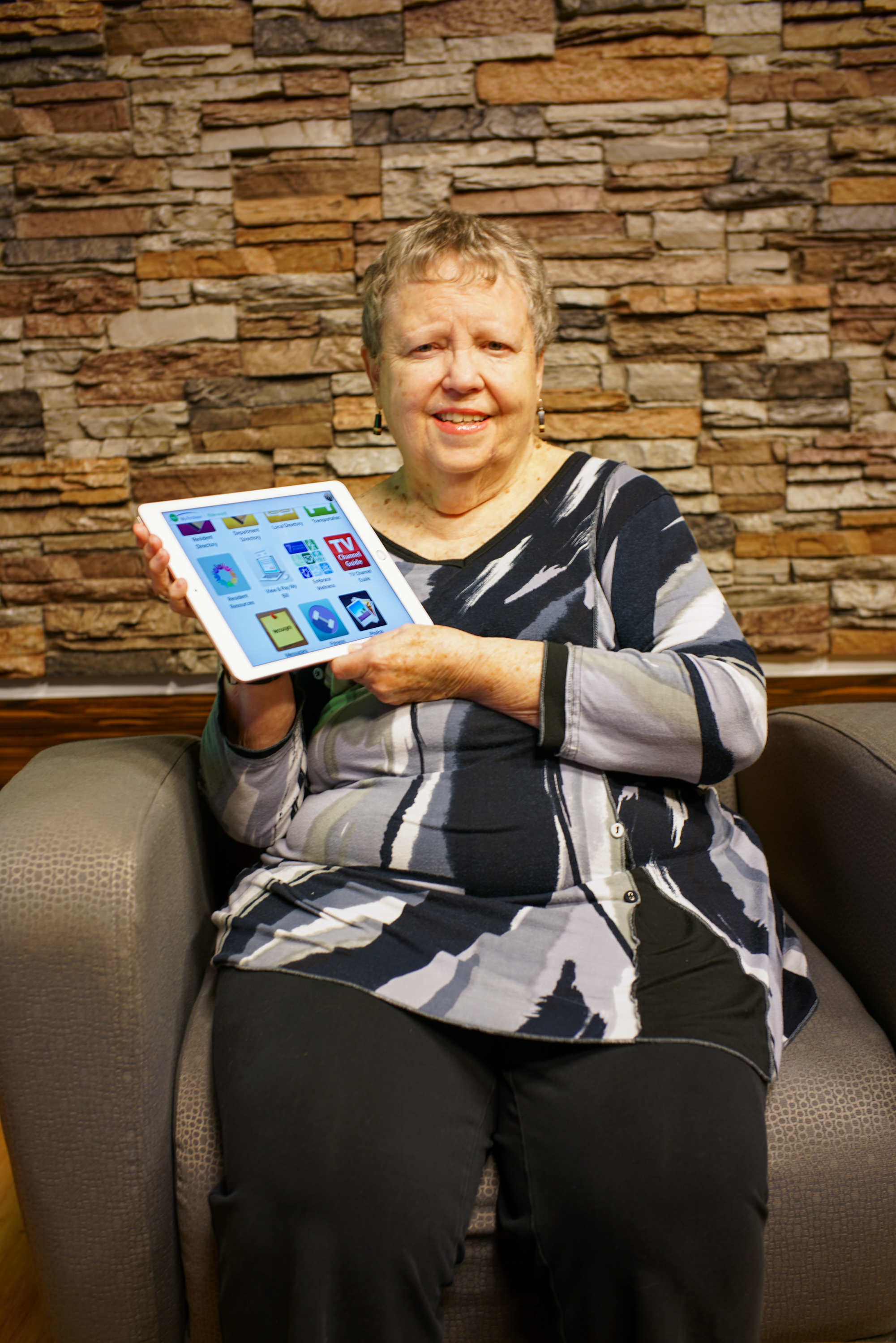Trudy Downs, who spent the latter part of her career in the information technology field, is one of the many tech-savvy retirees living at Riderwood (Photo Courtney Coombs)