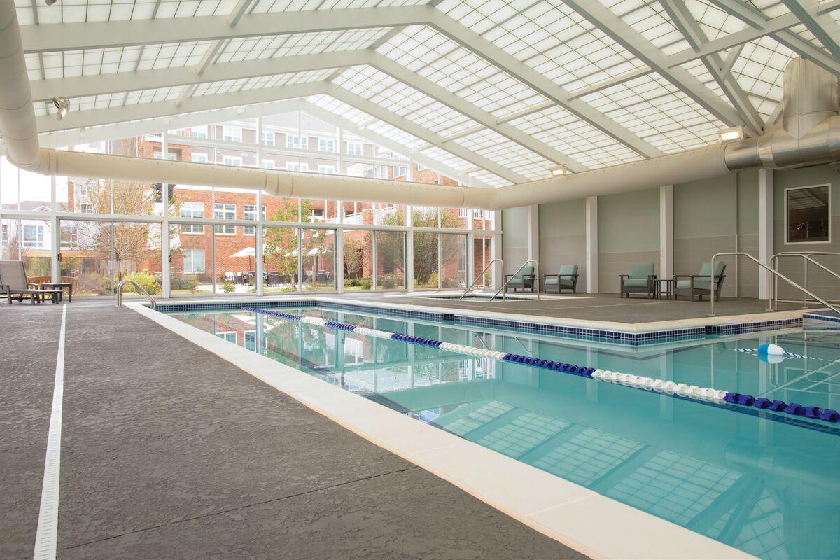 The interior of the all-season aquatics center at Windsor Run, an Erickson Living senior living community, is pictured.