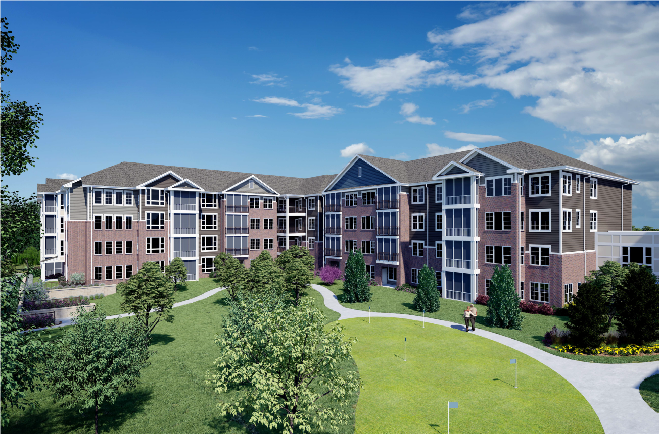 A rendering of Beech Hollow, the new independent living building at Windsor Run featuring a variety of stylish floor plans.