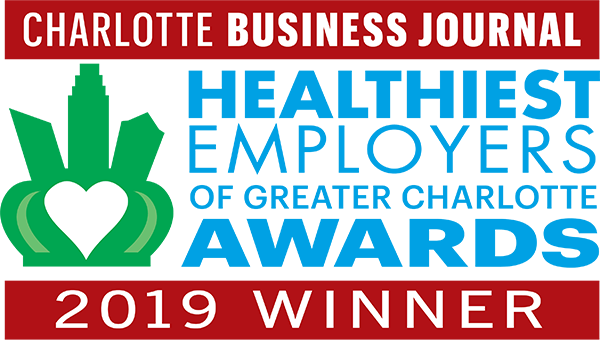 The logo for the Charlotte Business Journal 2019 Healthiest Employers of Greater Charlotte Awards