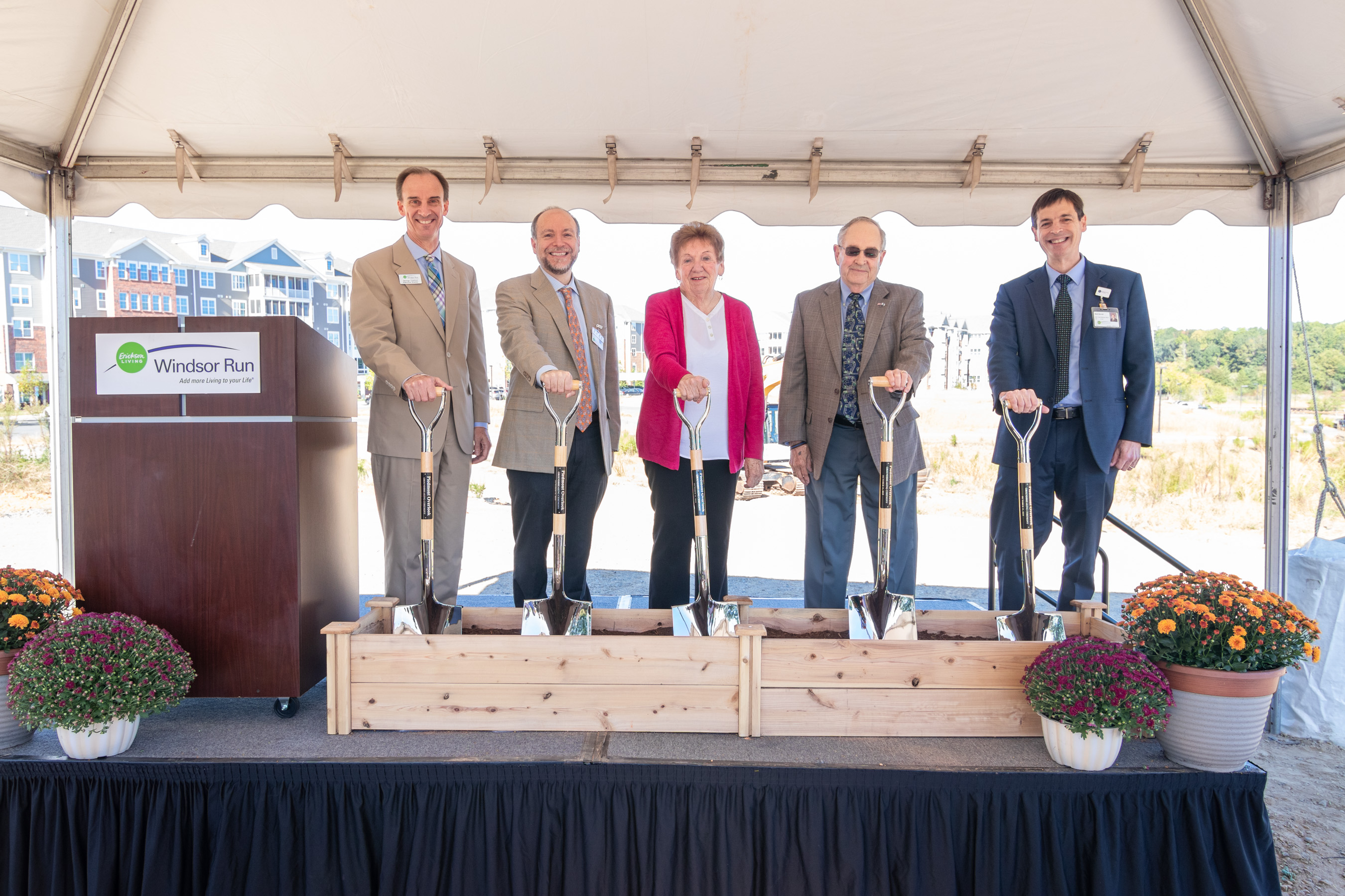 Residents, employees and corporate partners are pictured during the groundbreaking ceremony of a new continuing care neighborhood at Windsor Run.