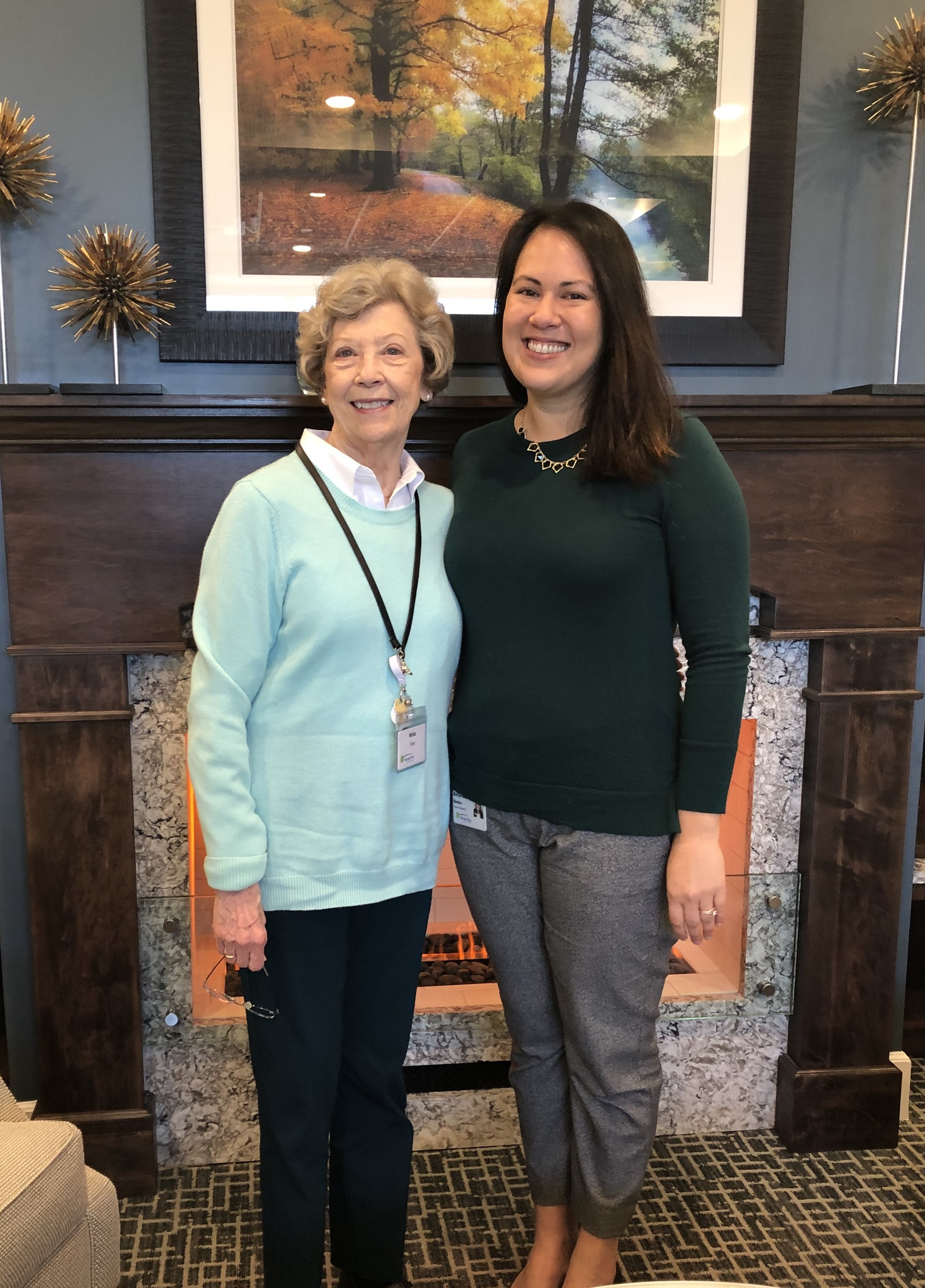 Wilda Tyler, a resident of Windsor Run, and Amanda Bates, personal moving consultant, are pictured together in the community's clubhouse.