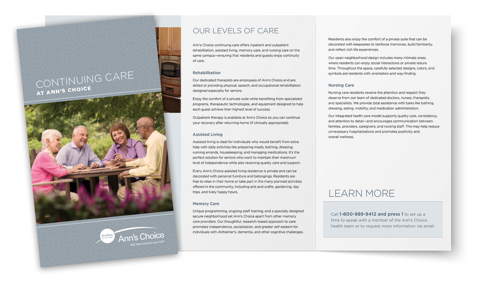 Ann's Choice Continuing Care brochure and spread