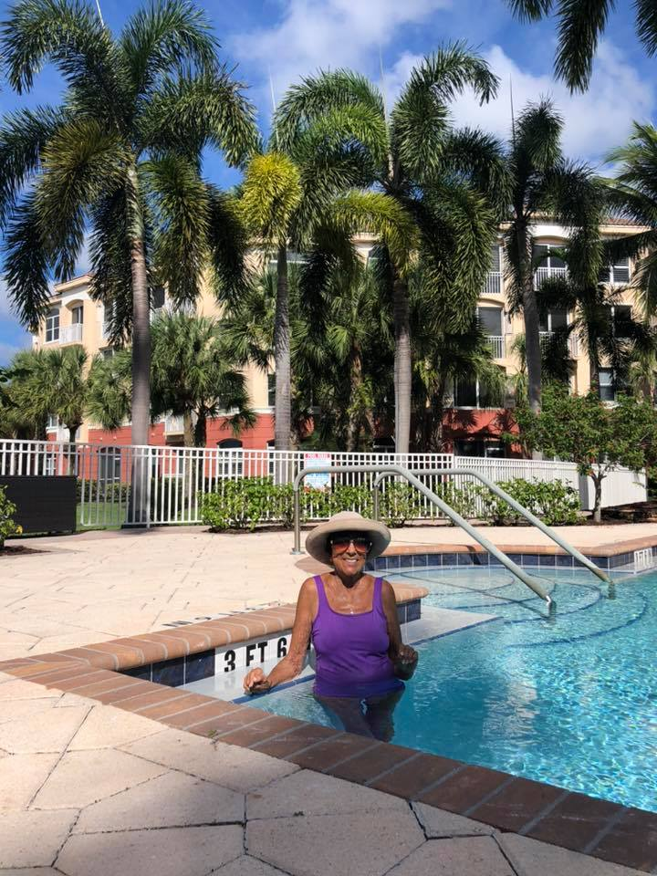 Community Member Sara Gordon exercising in the pool at Devonshire